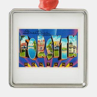 Forsyth Montana MT Old Vintage Travel Souvenir Silver-Colored Square Ornament
