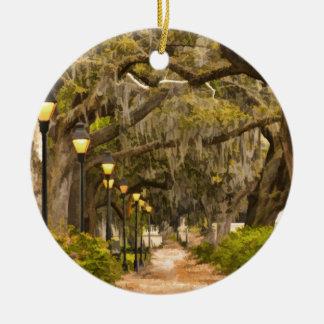 Forsyth Park - Photo, Savannah, Georgia (GA) USA Round Ceramic Ornament