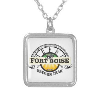 fort boise yellow marker silver plated necklace