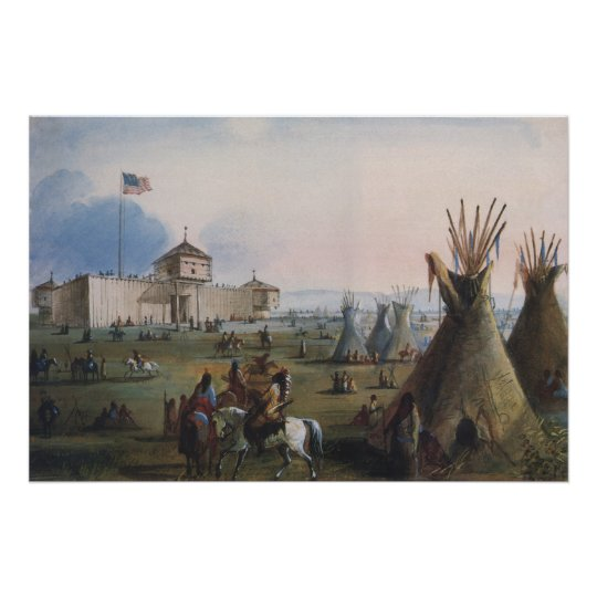 Fort Laramie, Sublette Fort, Fort William, Miller Poster