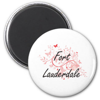 Fort Lauderdale Florida City Artistic design with 2 Inch Round Magnet