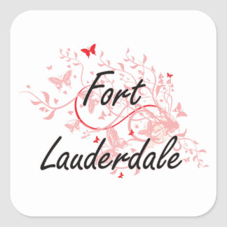 Fort Lauderdale Florida City Artistic design with Square Sticker