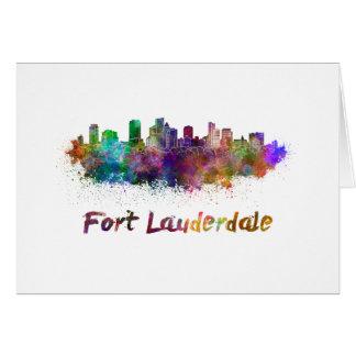 Fort Lauderdale skyline in watercolor Card