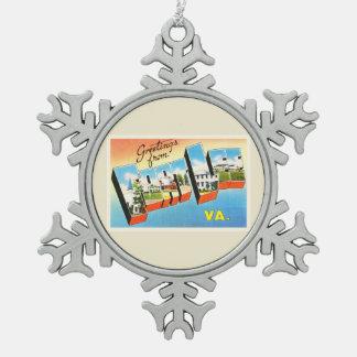 Fort Lee Virginia VA Old Vintage Travel Postcard- Snowflake Pewter Christmas Ornament