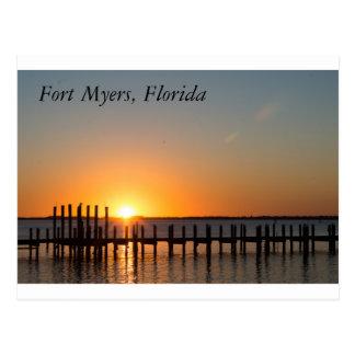 Fort Myers, Florida beautiful orange sunset Postcard