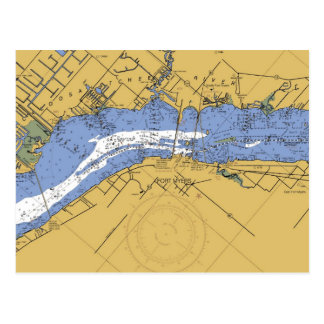 Fort Myers, Florida Nautical Harbor Chart Postcard