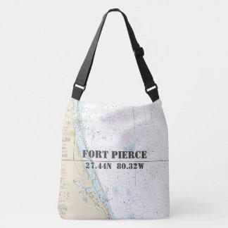 Fort Pierce FL Latitude Longitude Nautical Theme Crossbody Bag