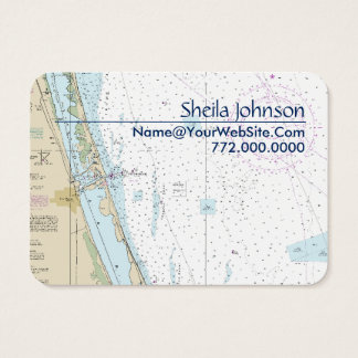 Fort Pierce FL Nautical Chart Clean Fresh Blue Tan Business Card