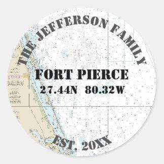 Fort Pierce Florida Nautical Envelope Seals Round Sticker