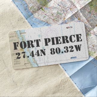 Fort Pierce Nautical Latitude Longitude License Plate