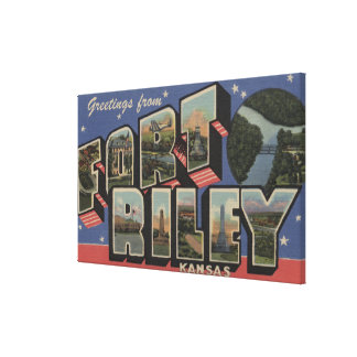 Fort Riley Kansas - Large Letter Scenes Stretched Canvas Print
