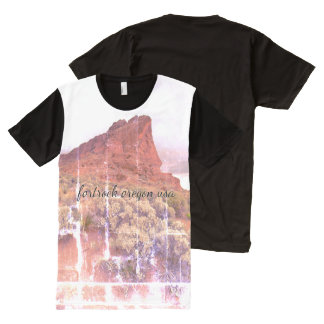 Fort Rock Oregon distressed photo All-Over-Print T-Shirt