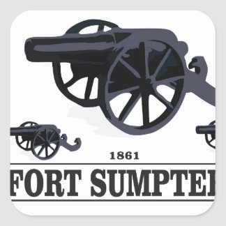 fort sumpter battle square sticker