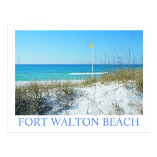 FORT WALTON BEACH, FL - Yellow beach flag Postcard