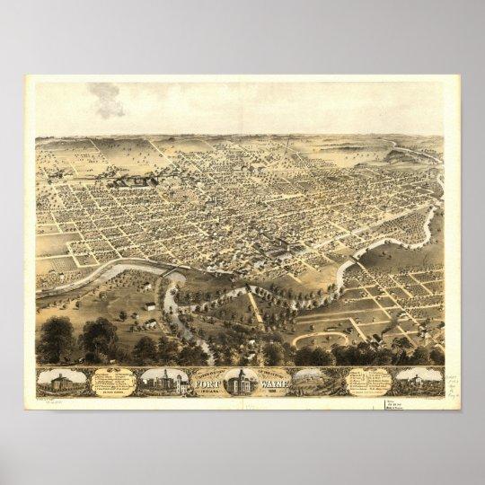 Fort Wayne Indiana 1868 Antique Panoramic Map Poster