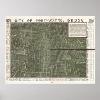 Fort Wayne Indiana 1907 Antique Panoramic Map Poster
