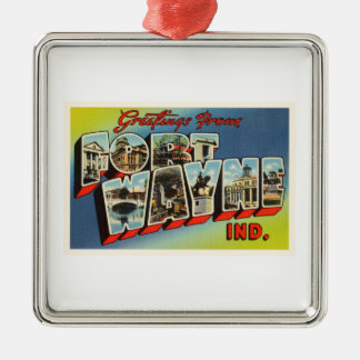 Fort Wayne Indiana IN Old Vintage Travel Souvenir Silver-Colored Square Ornament