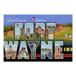 Fort Wayne Indiana Large Letter Greetings Poster