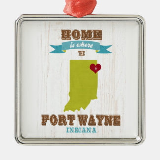 Fort Wayne, Indiana Map – Home Is Where The Heart Metal Ornament
