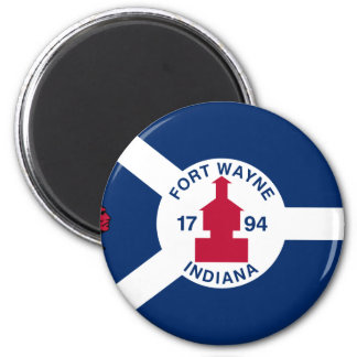 Fort Wayne, Indiana, United States flag 2 Inch Round Magnet