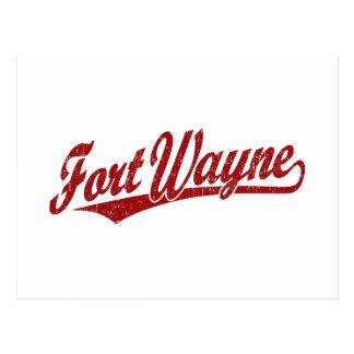 Fort Wayne script logo in red distressed Postcard