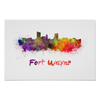 Fort Wayne skyline in watercolor Poster