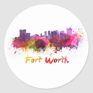 Fort Worth skyline in watercolor Classic Round Sticker