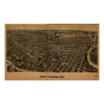 Fort Worth Texas 1891 Antique Panoramic Map Poster