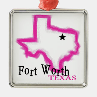 Fort Worth Texas artistic state outline Metal Ornament