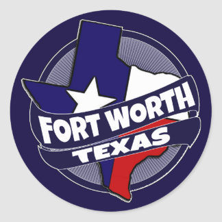 Fort Worth Texas flag burst stickers
