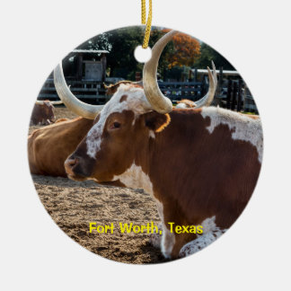 Fort Worth Texas Longhorns Ceramic Ornament