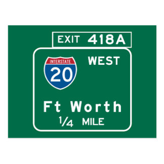 Fort Worth, TX Road Sign Postcard