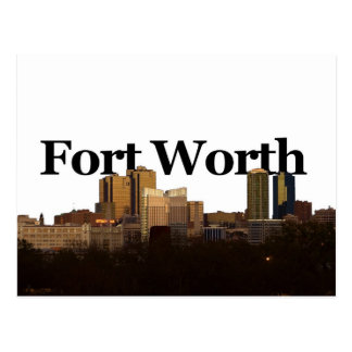 Fort Worth TX Skyline with Fort Worth in the Sky Postcard
