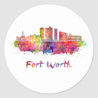 Fort Worth V2 skyline in watercolor Classic Round Sticker
