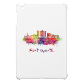 Fort Worth V2 skyline in watercolor Cover For The iPad Mini