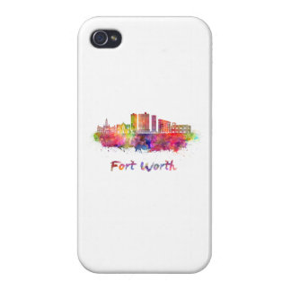 Fort Worth V2 skyline in watercolor iPhone 4 Cover