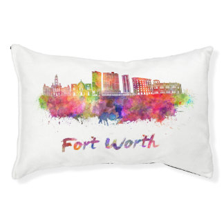 Fort Worth V2 skyline in watercolor Pet Bed