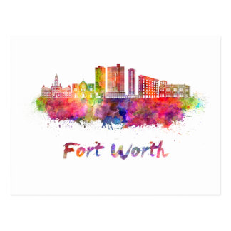 Fort Worth V2 skyline in watercolor Postcard