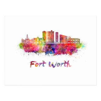 Fort Worth V2 skyline in watercolor Postcard