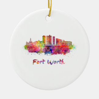 Fort Worth V2 skyline in watercolor Round Ceramic Ornament