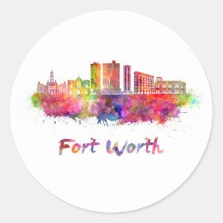 Fort Worth V2 skyline in watercolor Round Sticker