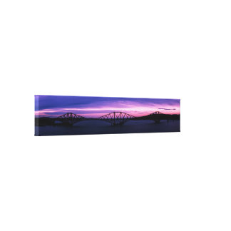 Forth Rail Bridge in silhouette at Sunset Scotland Canvas Print