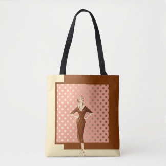 Forties Fashion with Brown Pink and Gold Tote Bag