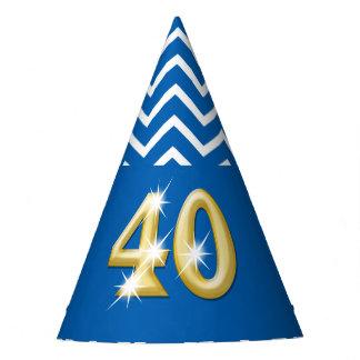 Fortieth 40th birthday blue chevron pattern party hat