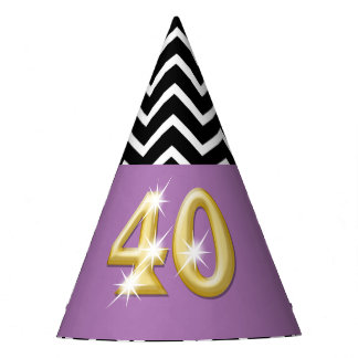 Fortieth 40th birthday purple gold pattern party hat