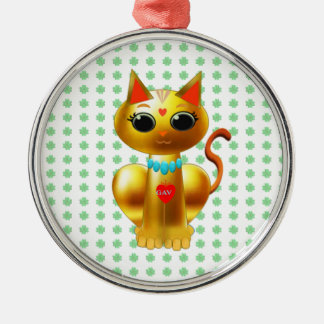 FORTUNE CAT METAL ORNAMENT