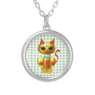 FORTUNE CAT SILVER PLATED NECKLACE