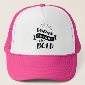 Fortune Favors the Bold Pink Trucker Hat | Quotes