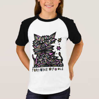 """Fortune Fools"" Girls' Short Sleeve Raglan T-Shirt"