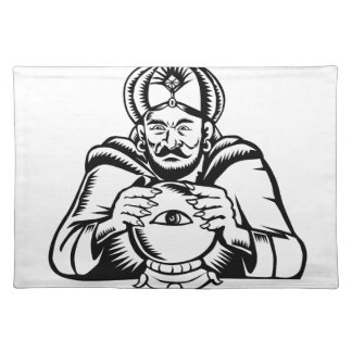 Fortune Teller Eye on Crystall Ball Woodcut Placemat